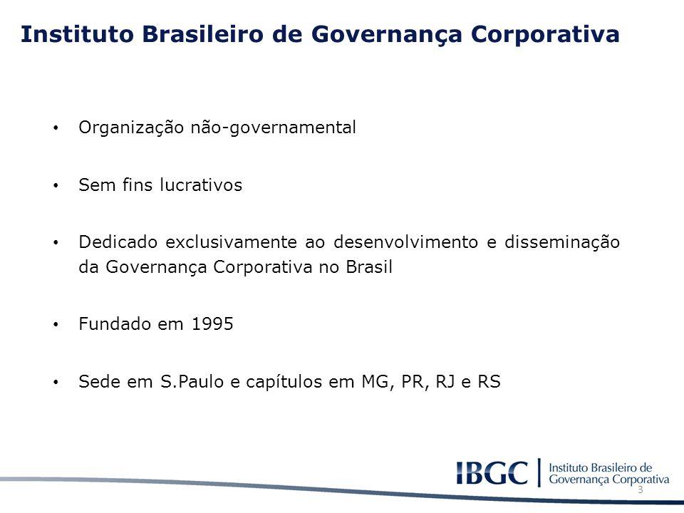Instituto Brasileiro de Governança Corporativa Organização não-governamental Sem fins lucrativos Dedicado exclusivamente ao desenvolvimento e dissemin