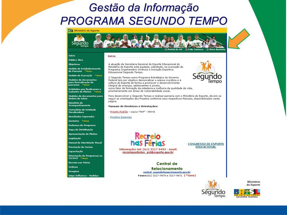 Gestão da Informação PROGRAMA SEGUNDO TEMPO