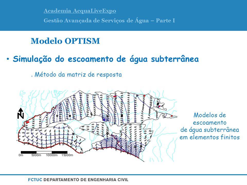 Academia AcquaLiveExpo Gestão Avançada de Serviços de Água – Parte I Modelo OPTISM Modelos de escoamento de água subterrânea em elementos finitos Simulação do escoamento de água subterrânea.