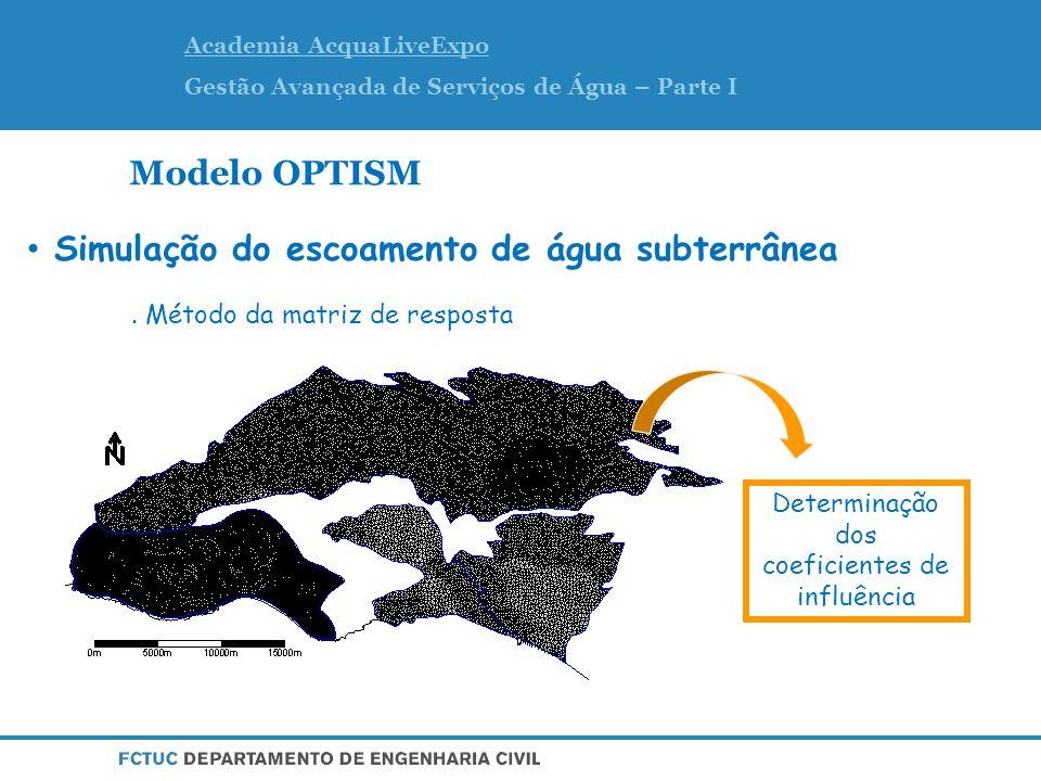 Academia AcquaLiveExpo Gestão Avançada de Serviços de Água – Parte I Modelo OPTISM Determinação dos coeficientes de influência Simulação do escoamento de água subterrânea.