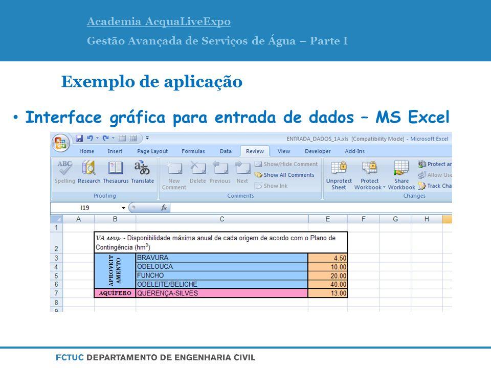 Academia AcquaLiveExpo Gestão Avançada de Serviços de Água – Parte I Exemplo de aplicação Interface gráfica para entrada de dados – MS Excel