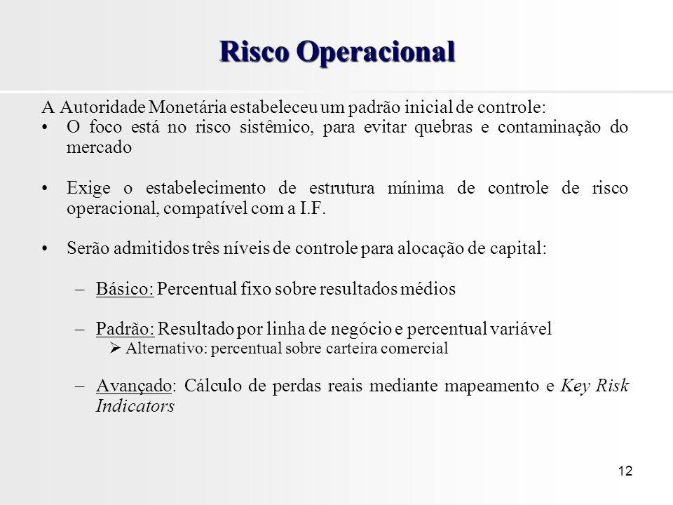 12 Risco Operacional A Autoridade Monetária estabeleceu um padrão inicial de controle: O foco está no risco sistêmico, para evitar quebras e contaminação do mercado Exige o estabelecimento de estrutura mínima de controle de risco operacional, compatível com a I.F.
