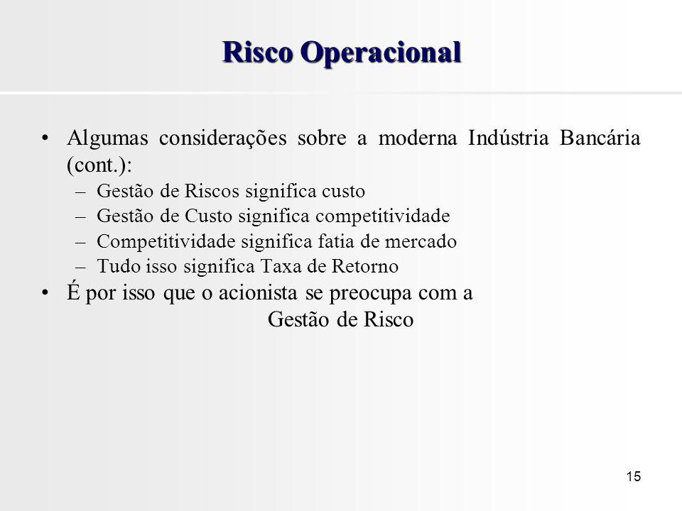 15 Risco Operacional Algumas considerações sobre a moderna Indústria Bancária (cont.): –Gestão de Riscos significa custo –Gestão de Custo significa co