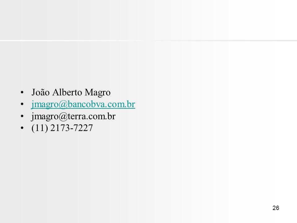 26 João Alberto Magro jmagro@bancobva.com.br jmagro@terra.com.br (11) 2173-7227