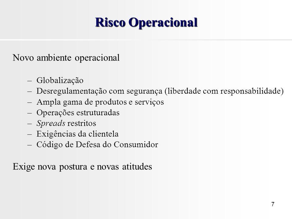 7 Risco Operacional Novo ambiente operacional –Globalização –Desregulamentação com segurança (liberdade com responsabilidade) –Ampla gama de produtos