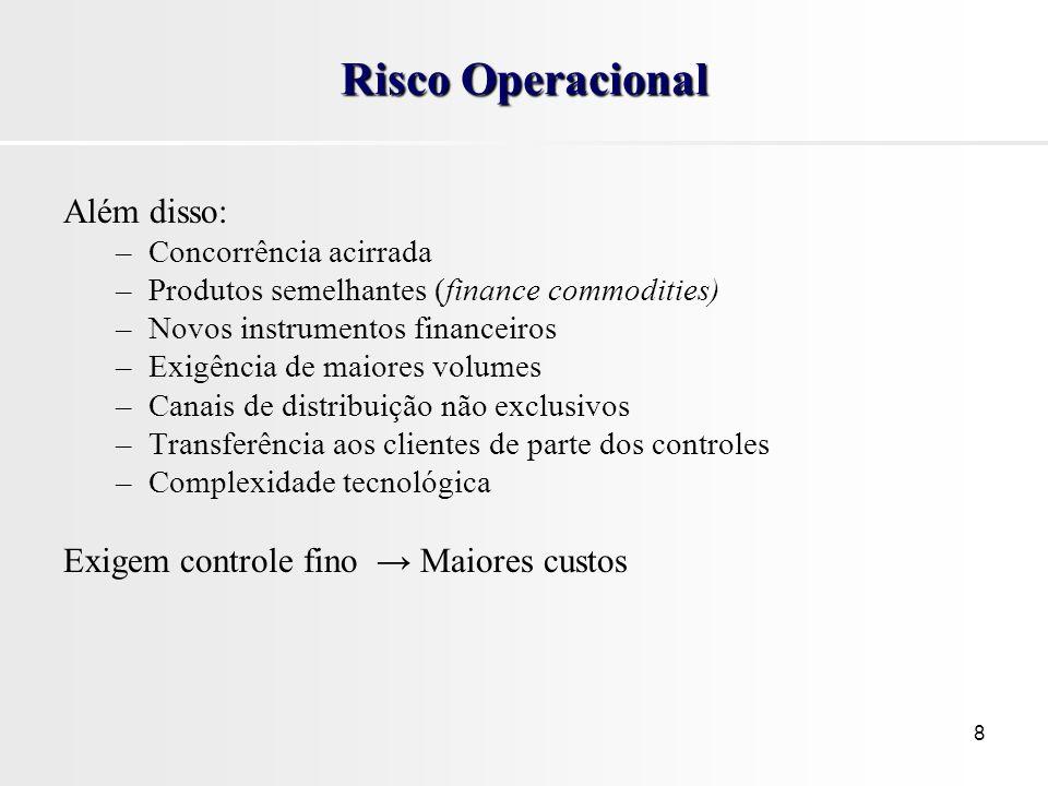 8 Risco Operacional Além disso: –Concorrência acirrada –Produtos semelhantes (finance commodities) –Novos instrumentos financeiros –Exigência de maior
