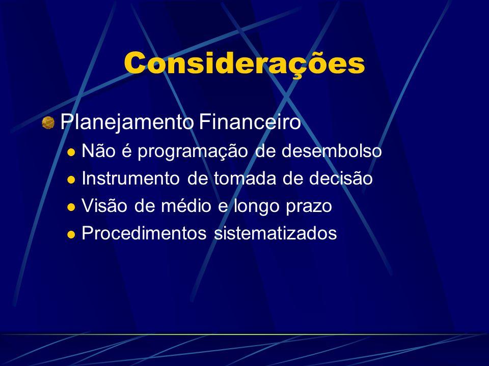Considerações Planejamento Financeiro Não é programação de desembolso Instrumento de tomada de decisão Visão de médio e longo prazo Procedimentos sist