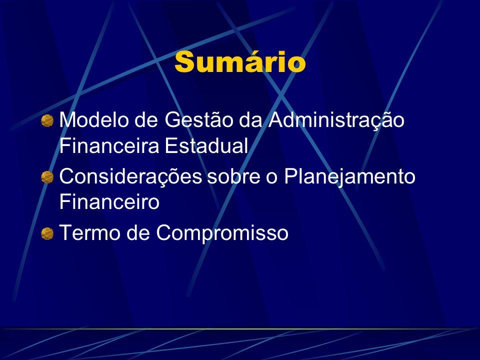Sumário Modelo de Gestão da Administração Financeira Estadual Considerações sobre o Planejamento Financeiro Termo de Compromisso