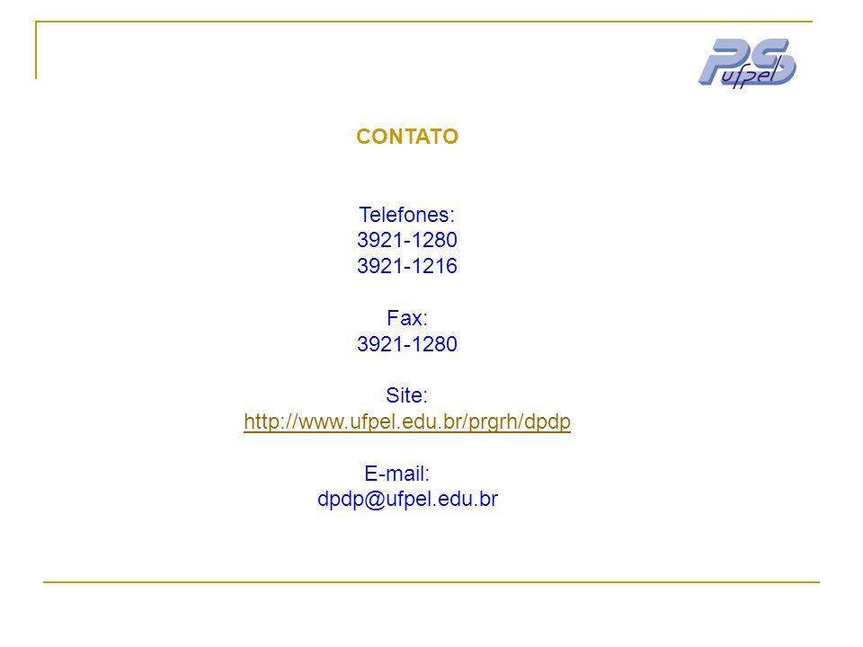 CONTATO Telefones: 3921-1280 3921-1216 Fax: 3921-1280 Site: http://www.ufpel.edu.br/prgrh/dpdp E-mail: dpdp@ufpel.edu.br