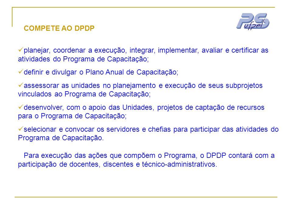 COMPETE AO DPDP planejar, coordenar a execução, integrar, implementar, avaliar e certificar as atividades do Programa de Capacitação; definir e divulg