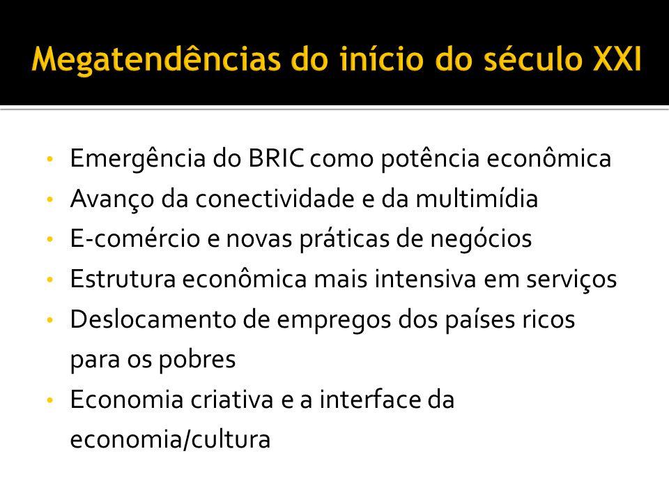 Fase de transição - enfoque holístico Século XX: Sociedade da Informação Informação, Comunicação, Tecnologia Século XXI : Cultura Idéias, Criatividade, Bem-estar Repensar modelos econômicos na era pós-industrial