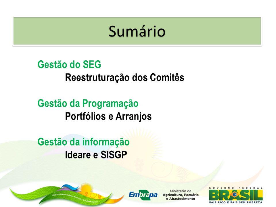 Sumário Gestão do SEG Reestruturação dos Comitês Gestão da Programação Portfólios e Arranjos Gestão da informação Ideare e SISGP