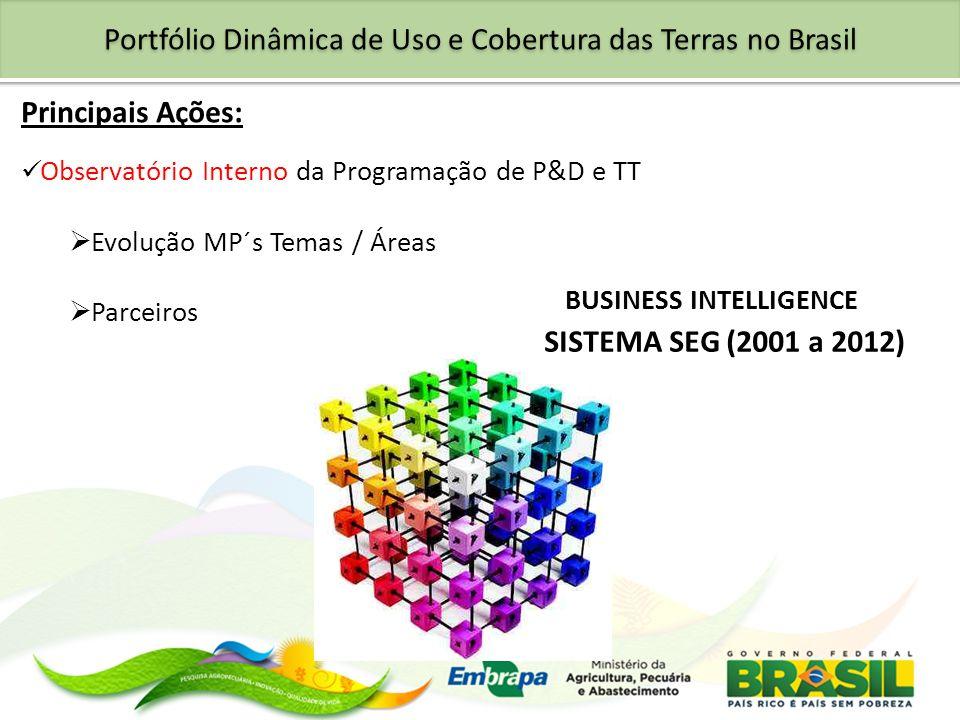 Portfólio Dinâmica de Uso e Cobertura das Terras no Brasil Principais Ações: Observatório Interno da Programação de P&D e TT Evolução MP´s Temas / Áre