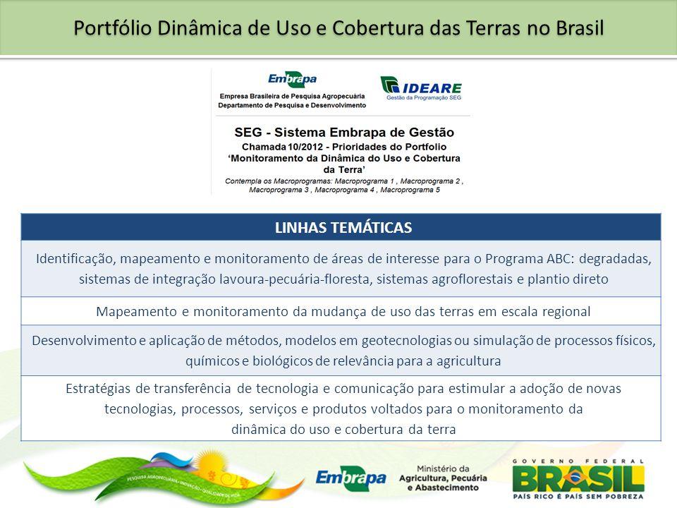 Portfólio Dinâmica de Uso e Cobertura das Terras no Brasil LINHAS TEMÁTICAS Identificação, mapeamento e monitoramento de áreas de interesse para o Pro
