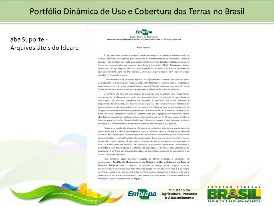 aba Suporte - Arquivos Úteis do Ideare Portfólio Dinâmica de Uso e Cobertura das Terras no Brasil