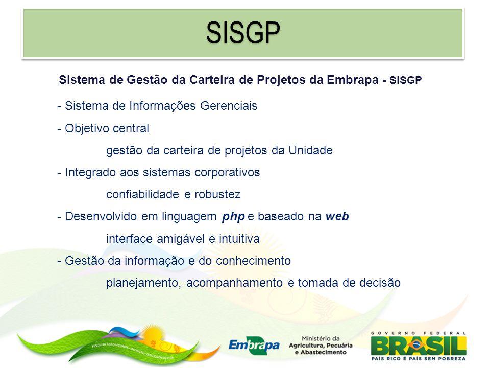 SISGP Sistema de Gestão da Carteira de Projetos da Embrapa - SISGP - Sistema de Informações Gerenciais - Objetivo central gestão da carteira de projet