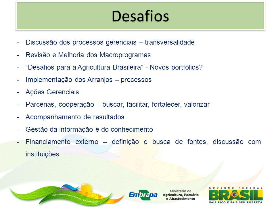 -Discussão dos processos gerenciais – transversalidade -Revisão e Melhoria dos Macroprogramas -Desafios para a Agricultura Brasileira - Novos portfóli