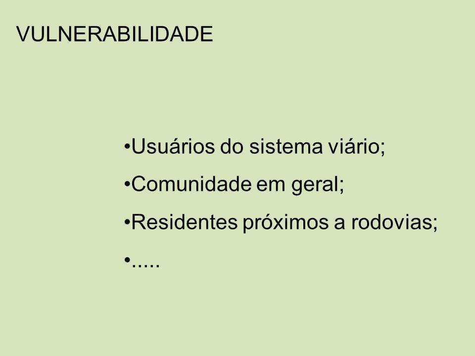 VULNERABILIDADE Usuários do sistema viário; Comunidade em geral; Residentes próximos a rodovias;.....
