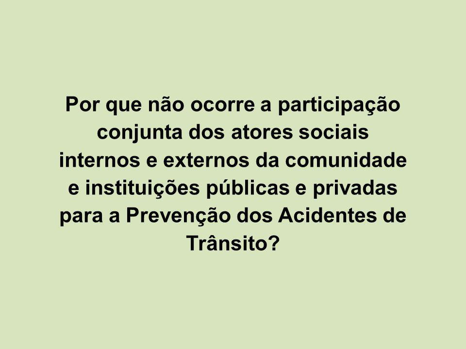 Por que não ocorre a participação conjunta dos atores sociais internos e externos da comunidade e instituições públicas e privadas para a Prevenção dos Acidentes de Trânsito?