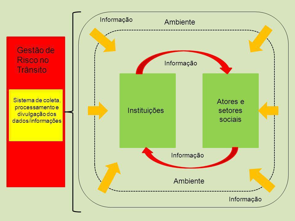 Gestão de Risco no Trânsito Sistema de coleta, processamento e divulgação dos dados/informações Instituições Atores e setores sociais Ambiente Informação