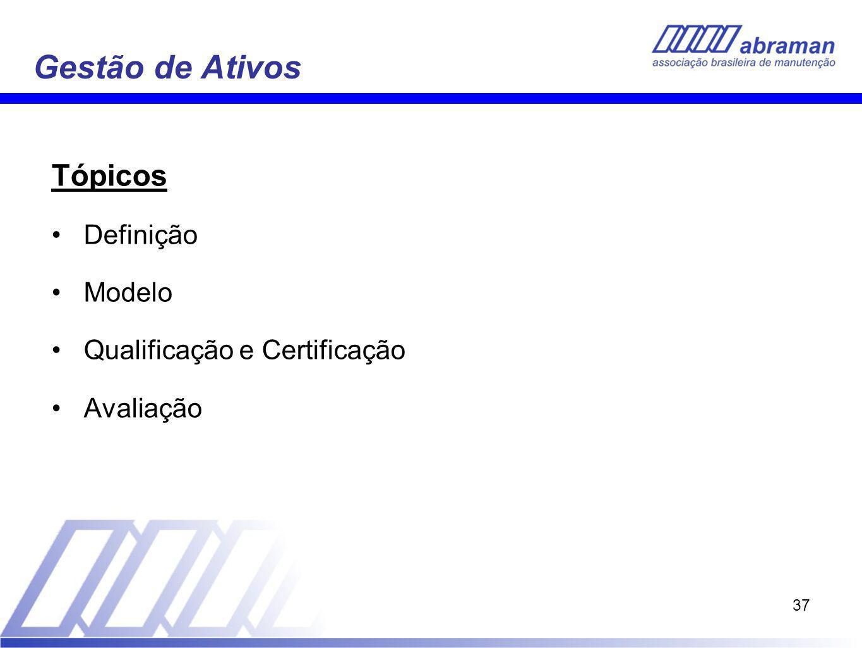 37 Gestão de Ativos Tópicos Definição Modelo Qualificação e Certificação Avaliação