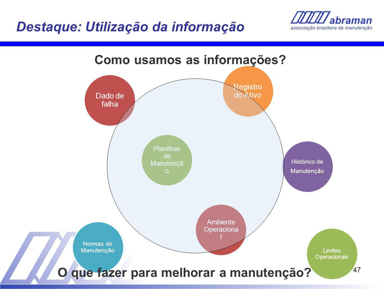 47 Destaque: Utilização da informação Planilhas de Manutençã o Dado de falha Histórico de Manutenção Normas de Manutenção Registro do Ativo Ambiente Operaciona l Limites Operacionais Como usamos as informações.