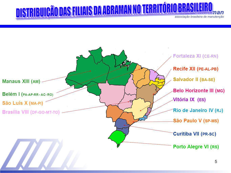 5 Recife XII ( PE-AL-PB ) Belém I ( PA-AP-RR - AC- RO) Salvador II ( BA-SE ) Belo Horizonte III ( MG ) Rio de Janeiro IV ( RJ ) São Paulo V ( SP-MS ) Porto Alegre VI ( RS ) Curitiba VII ( PR-SC ) Brasília VIII ( DF-GO-MT-TO ) Vitória IX ( ES ) São Luís X ( MA-PI ) Fortaleza XI ( CE-RN ) Manaus XIII ( AM )