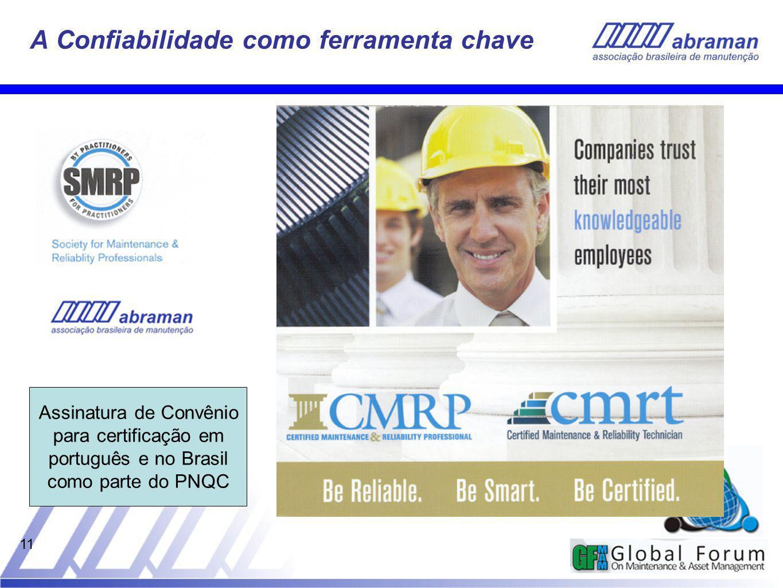 11 A Confiabilidade como ferramenta chave Assinatura de Convênio para certificação em português e no Brasil como parte do PNQC