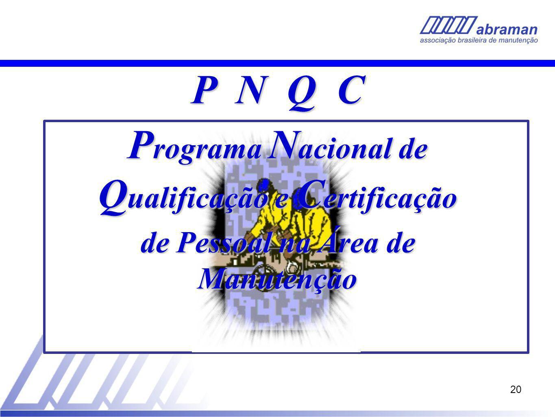 20 P N Q C P rograma N acional de Q ualificação e C ertificação de Pessoal na Área de Manutenção