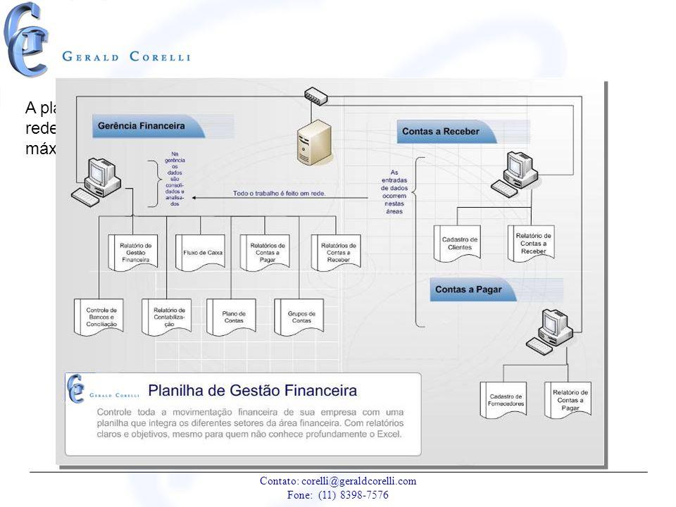 A planilha de Gestão trabalha em rede oferecendo, assim, o máximo de funcionalidade.