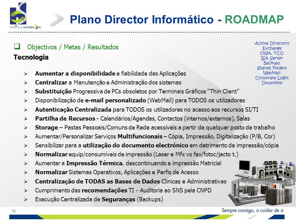 16 Plano Director Informático - ROADMAP Objectivos / Metas / ResultadosTecnologia Aumentar a disponibilidade e fiabilidade das Aplicações Centralizar a Manutenção e Administração dos sistemas Substituição Progressiva de PCs obsoletos por Terminais Gráficos Thin Client Disponibilização de e-mail personalizado (WebMail) para TODOS os utilizadores Autenticação Centralizada para TODOS os utilizadores no acesso aos recursos SI/TI Partilha de Recursos - Calendários/Agendas, Contactos (internos/externos), Salas Storage – Pastas Pessoais/Comuns de Rede acessíveis a partir de qualquer posto de trabalho Aumentar/Personalizar Serviços Multifuncionais – Cópia, Impressão, Digitalização (P/B, Cor) Sensibilizar para a utilização do documento electrónico em detrimento da impressão/cópia Normalizar equip/consumíveis de impressão (Laser e Mfx vs fax/fotoc/jacto t.) Aumentar a Impressão Térmica, descontinuando a impressão Matricial Normalizar Sistemas Operativos, Aplicações e Perfis de Acesso Centralização de TODAS as Bases de Dados Clinicas e Administrativas Cumprimento das recomendações TI - Auditoria ao SNS pela CNPD Execução Centralizada de Seguranças (Backups) Active Directory Exchange OWA, TCO ISA Server Backups Shared Folders WebMail Corporate Login Downtime