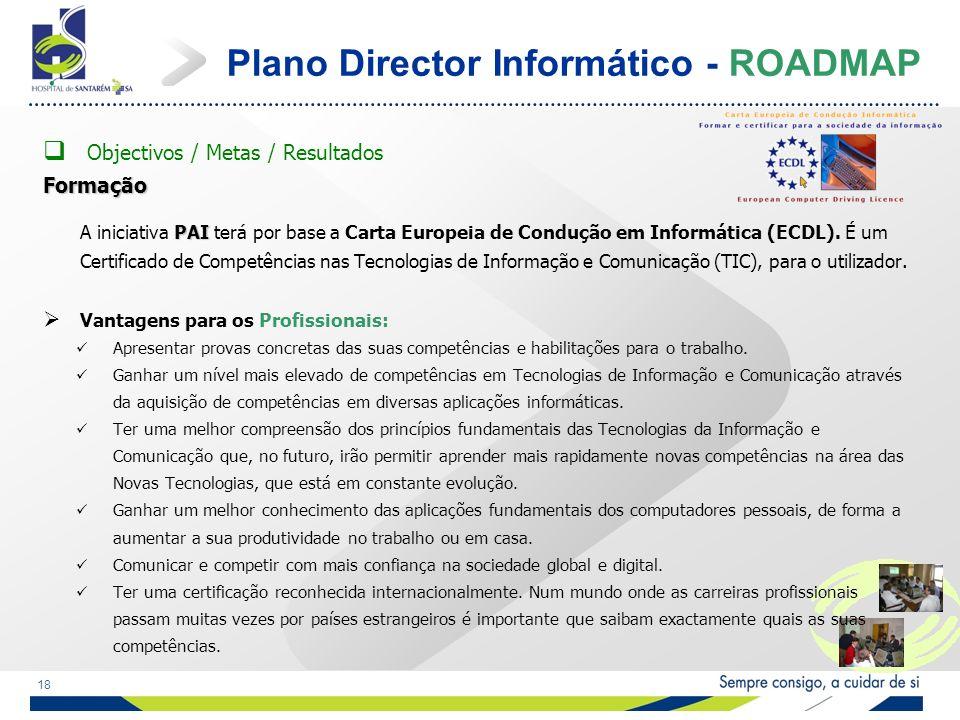 18 Plano Director Informático - ROADMAP Objectivos / Metas / ResultadosFormação PAI A iniciativa PAI terá por base a Carta Europeia de Condução em Informática (ECDL).