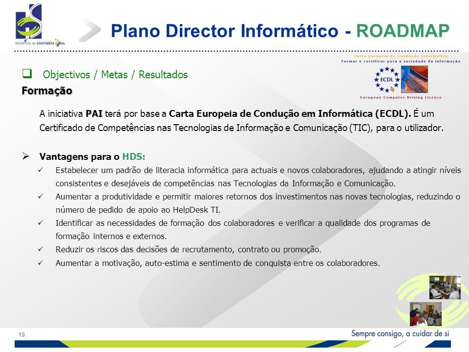 19 Plano Director Informático - ROADMAP Objectivos / Metas / ResultadosFormação PAI A iniciativa PAI terá por base a Carta Europeia de Condução em Informática (ECDL).