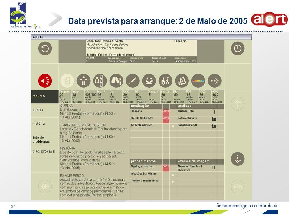 37 Data prevista para arranque: 2 de Maio de 2005