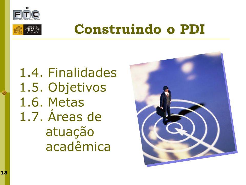 18 1.4. Finalidades 1.5. Objetivos 1.6. Metas 1.7. Áreas de atuação acadêmica Construindo o PDI