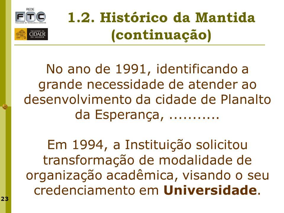 23 1.2. Histórico da Mantida (continuação) No ano de 1991, identificando a grande necessidade de atender ao desenvolvimento da cidade de Planalto da E