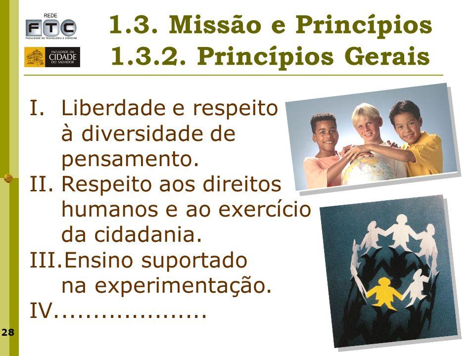 28 1.3. Missão e Princípios 1.3.2. Princípios Gerais I.Liberdade e respeito à diversidade de pensamento. II.Respeito aos direitos humanos e ao exercíc