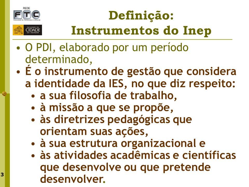 3 Definição: Instrumentos do Inep O PDI, elaborado por um período determinado, É o instrumento de gestão que considera a identidade da IES, no que diz