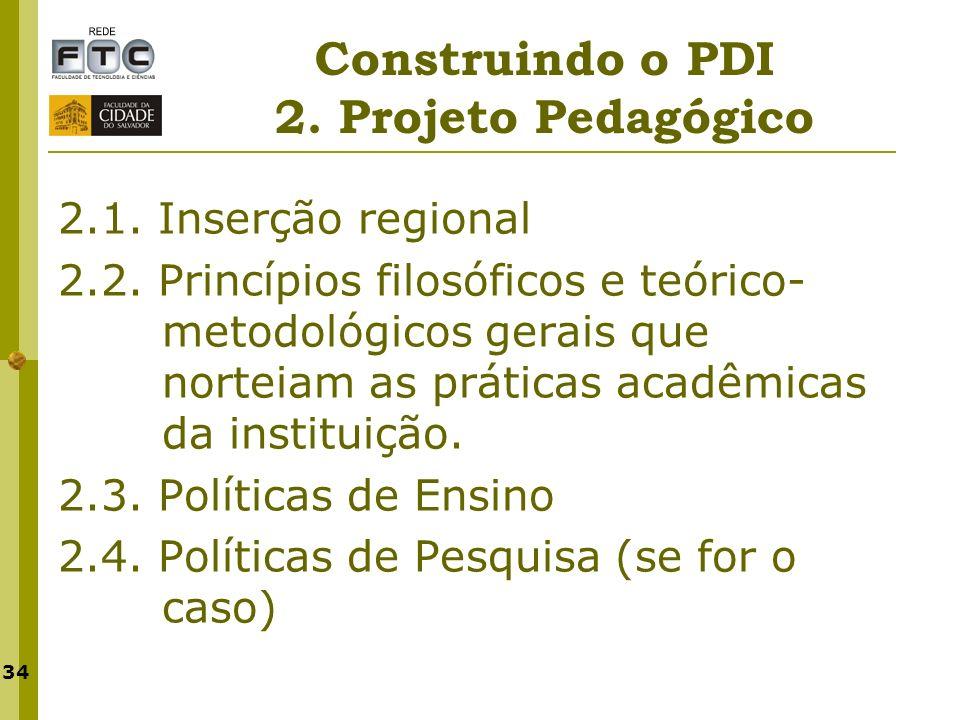 34 Construindo o PDI 2. Projeto Pedagógico 2.1. Inserção regional 2.2. Princípios filosóficos e teórico- metodológicos gerais que norteiam as práticas