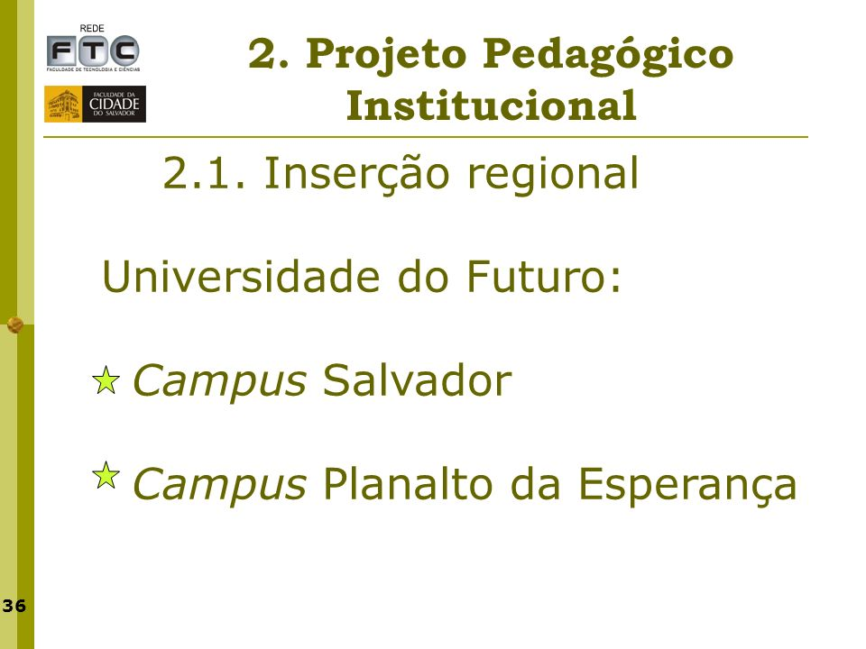 36 2. Projeto Pedagógico Institucional 2.1. Inserção regional Universidade do Futuro: Campus Salvador Campus Planalto da Esperança