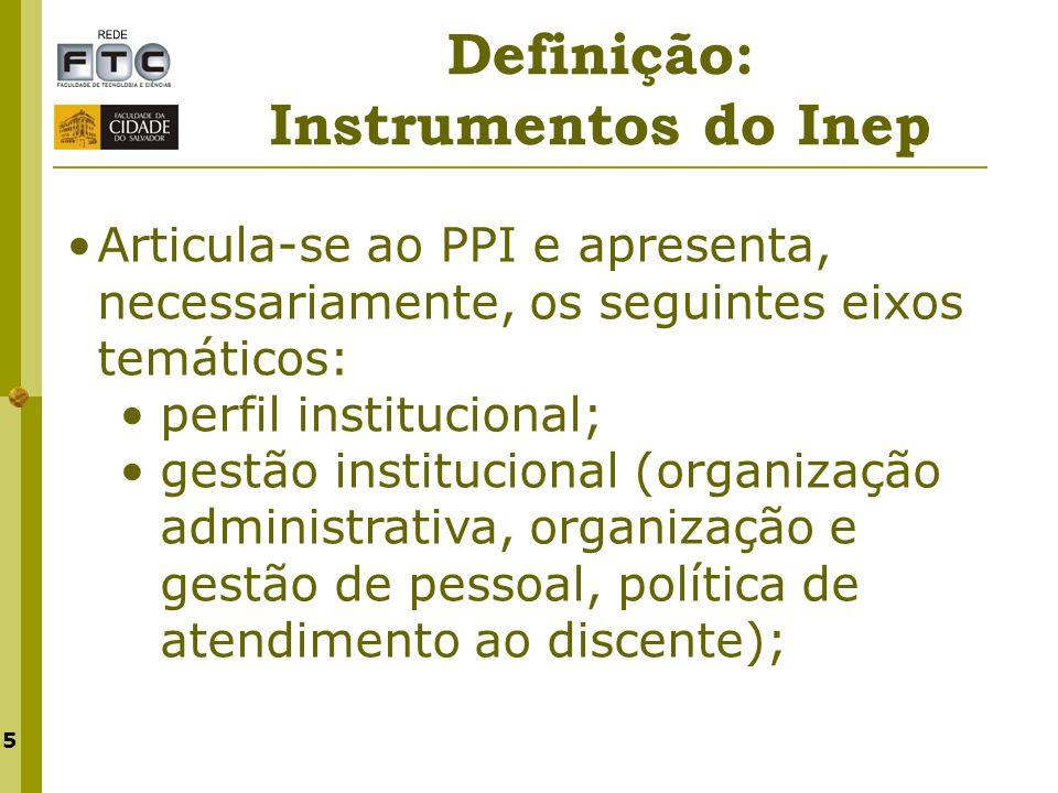 5 Articula-se ao PPI e apresenta, necessariamente, os seguintes eixos temáticos: perfil institucional; gestão institucional (organização administrativ