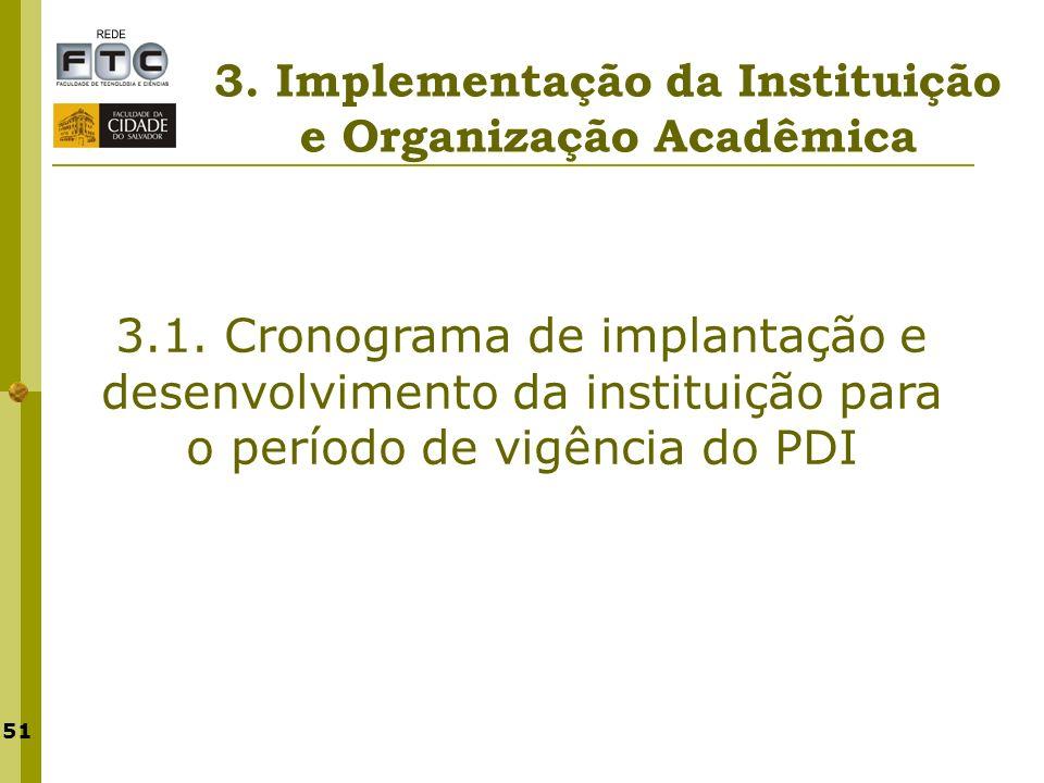 51 3. Implementação da Instituição e Organização Acadêmica 3.1. Cronograma de implantação e desenvolvimento da instituição para o período de vigência
