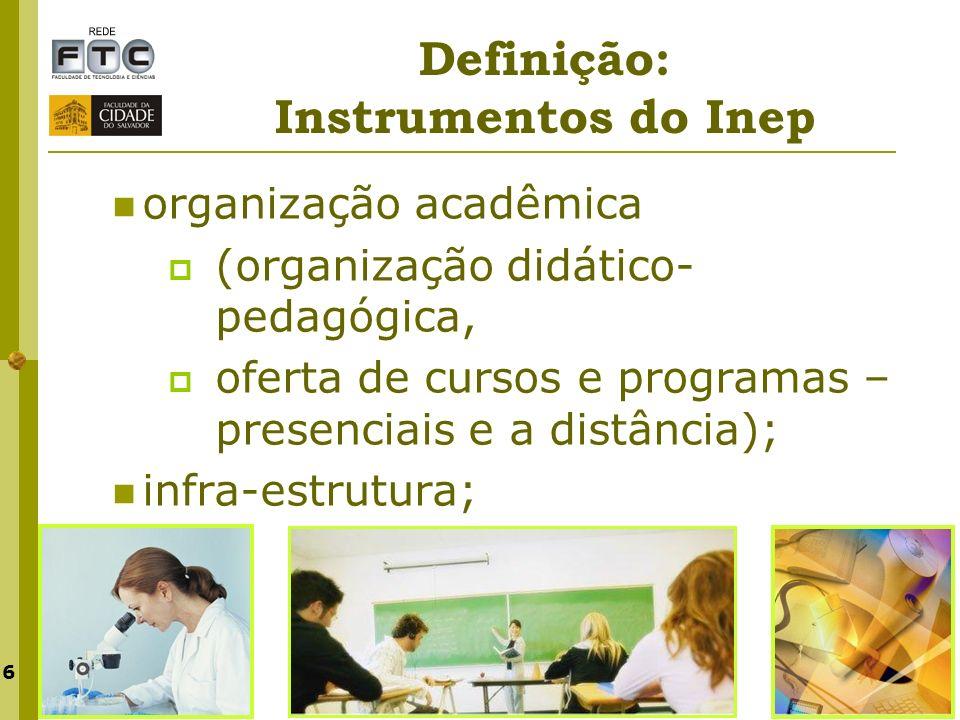 6 organização acadêmica (organização didático- pedagógica, oferta de cursos e programas – presenciais e a distância); infra-estrutura;
