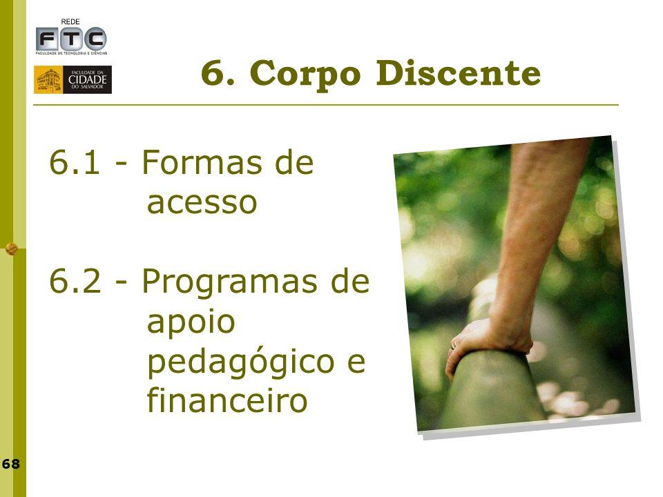 68 6. Corpo Discente 6.1 - Formas de acesso 6.2 - Programas de apoio pedagógico e financeiro