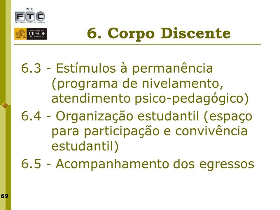 69 6. Corpo Discente 6.3 - Estímulos à permanência (programa de nivelamento, atendimento psico-pedagógico) 6.4 - Organização estudantil (espaço para p