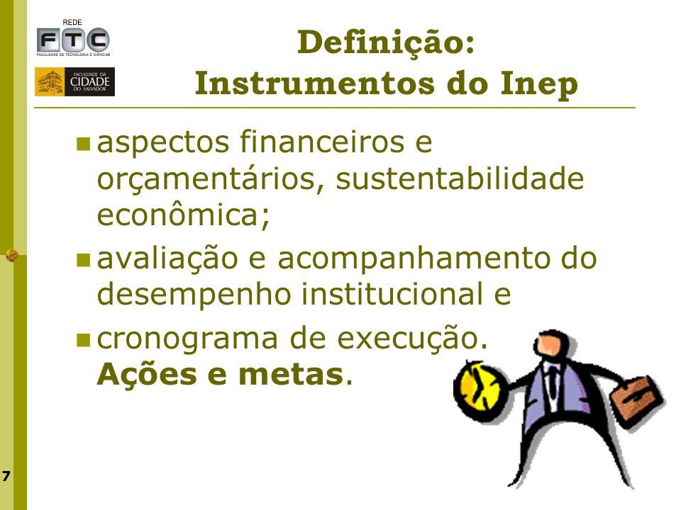 7 Definição: Instrumentos do Inep aspectos financeiros e orçamentários, sustentabilidade econômica; avaliação e acompanhamento do desempenho instituci
