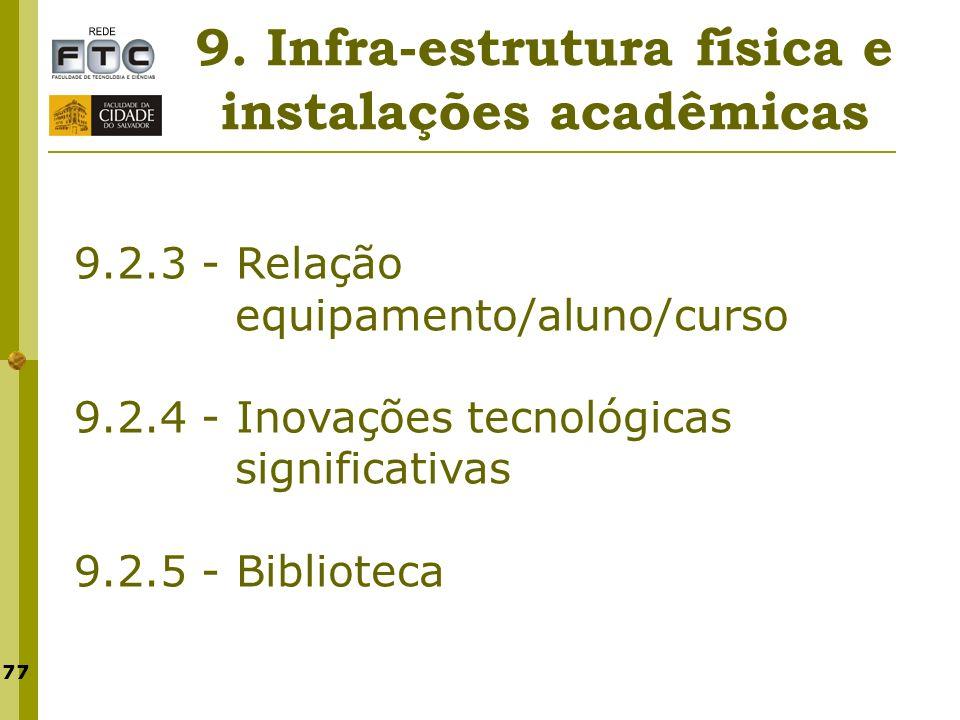77 9. Infra-estrutura física e instalações acadêmicas 9.2.3 - Relação equipamento/aluno/curso 9.2.4 - Inovações tecnológicas significativas 9.2.5 - Bi