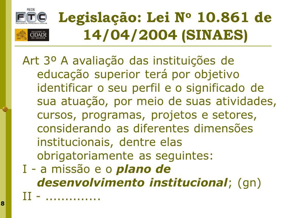 8 Legislação: Lei N o 10.861 de 14/04/2004 (SINAES) Art 3º A avaliação das instituições de educação superior terá por objetivo identificar o seu perfi