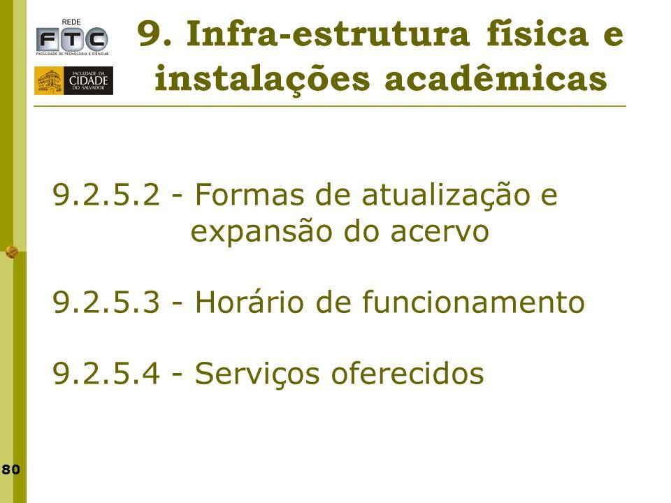 80 9. Infra-estrutura física e instalações acadêmicas 9.2.5.2 - Formas de atualização e expansão do acervo 9.2.5.3 - Horário de funcionamento 9.2.5.4