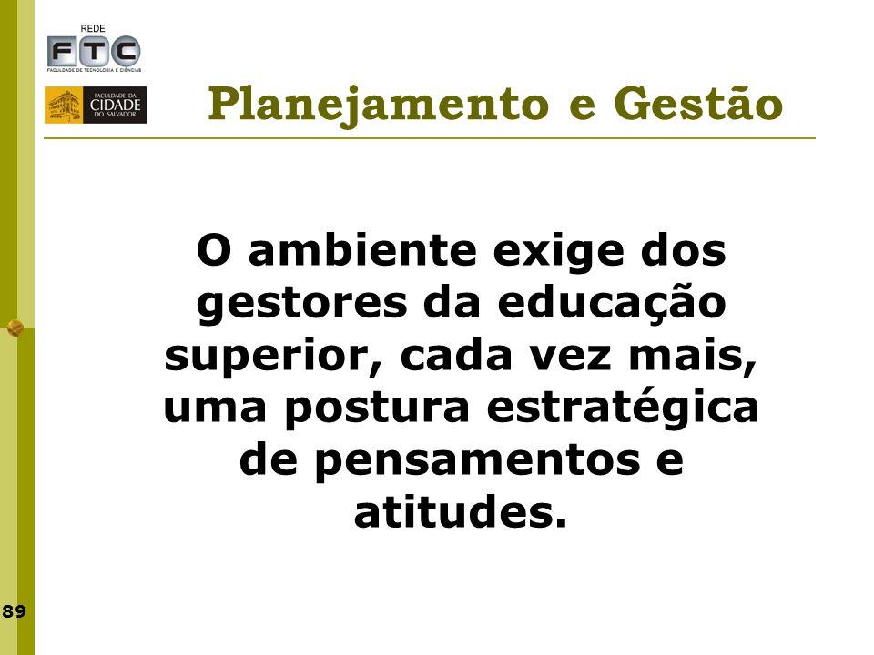 89 Planejamento e Gestão O ambiente exige dos gestores da educação superior, cada vez mais, uma postura estratégica de pensamentos e atitudes.